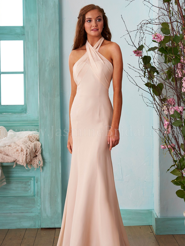 1d3001868fc Discription  Simple and versatile poly chiffon bridesmaid dress with a  strapless sweetheart neckline. This fit and flare bridesmaid dress comes  with a sash ...
