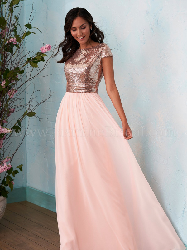 69526477cb Discription  Pretty A-line bridesmaid dress with a boat neckline in the  front and cowl neckline in the back. Sequin bodice and poly chiffon skirt  with ...