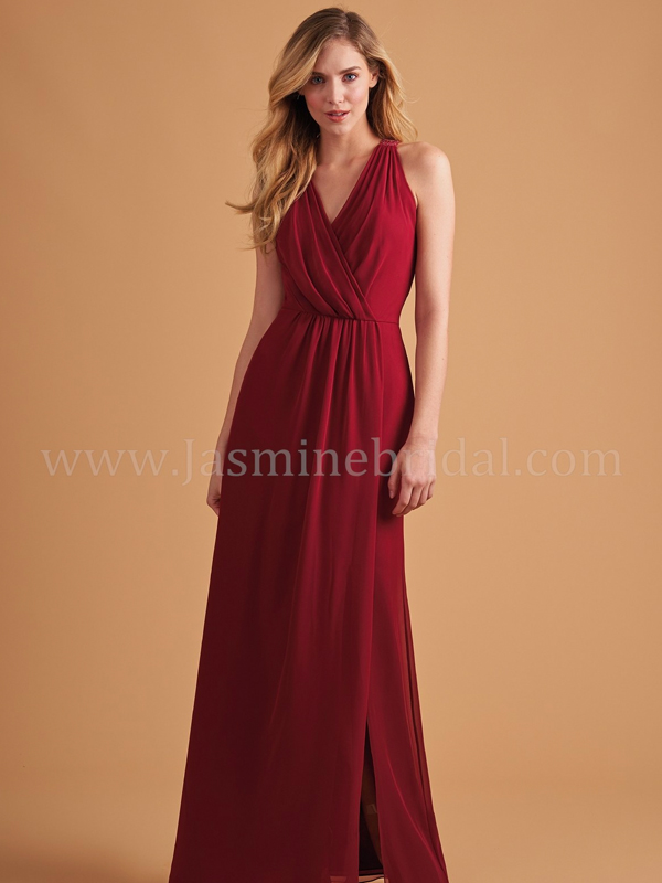 4902d79c78a Discription  Pretty poly chiffon V-neck bridesmaid dress with detailed  pleats on the bodice and beautiful ruching on the skirt. Keyhole back and  front slit ...